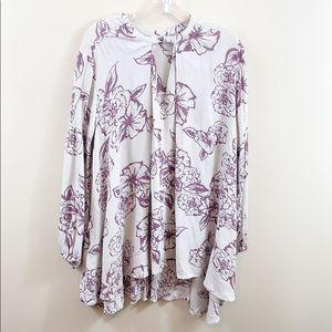 Free People gray/purple floral tunic dress